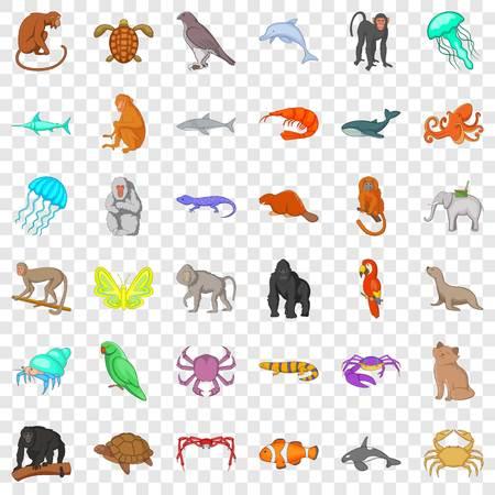 Different animals icons set, cartoon style