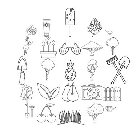 Blossom icons set. Outline set of 25 blossom vector icons for web isolated on white background