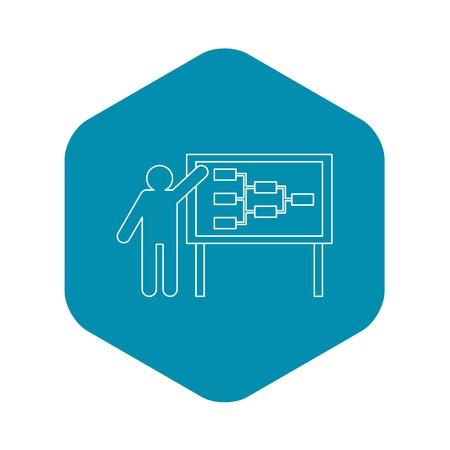 Businessman and presentation screen icon. Outline illustration of businessman and presentation screen vector icon for web Çizim