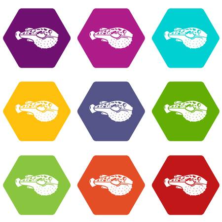 Poison fish icons set 9 vector Illustration