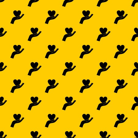 Hand holding heart pattern seamless vector repeat geometric yellow for any design Banque d'images - 125075585