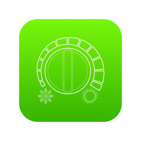 Cold heat regulator icon green vector isolated on white background