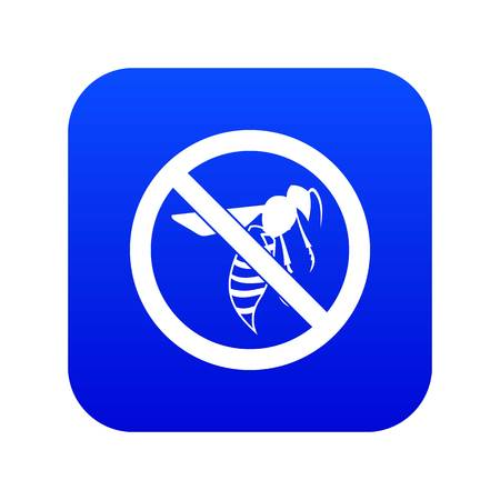 No wasp sign icon digital blue for any design isolated on white vector illustration
