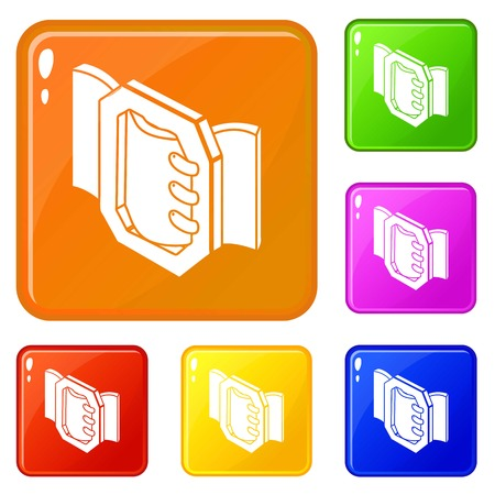 Belt buckle icons set collection vector 6 color isolated on white background