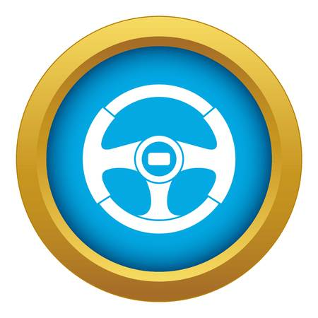 Car steering wheel icon blue vector isolated on white background for any design Illustration