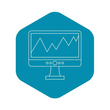 Graph on the computer monitor icon. Outline illustration of graph on the monitor vector icon for web Ilustrace