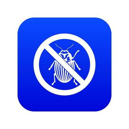 No potato beetle sign icon digital blue Banque d'images - 117488678