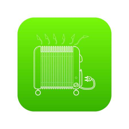 Heater icon green vector isolated on white background Illustration