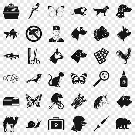 Animal medicine icons set, simple style