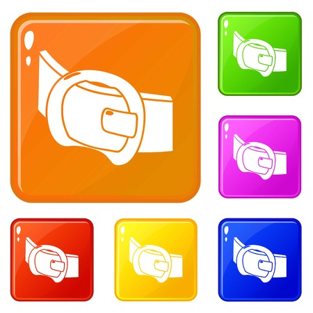Modern belt icons set collection vector 6 color isolated on white background