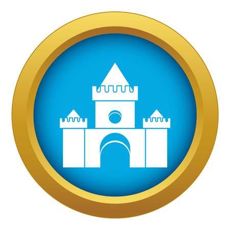 Fairytale castle icon blue vector isolated Illustration