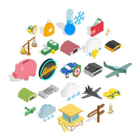 Flight vehicle icons set. Isometric set of 25 flight vehicle vector icons for web isolated on white background