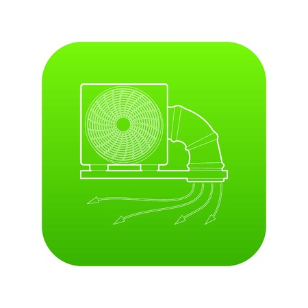 System fan and pipe icon green vector isolated on white background