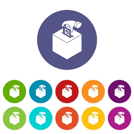 Election box icons color set vector for any web design on white background Illustration