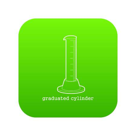Graduated cylinder icon green vector isolated on white background