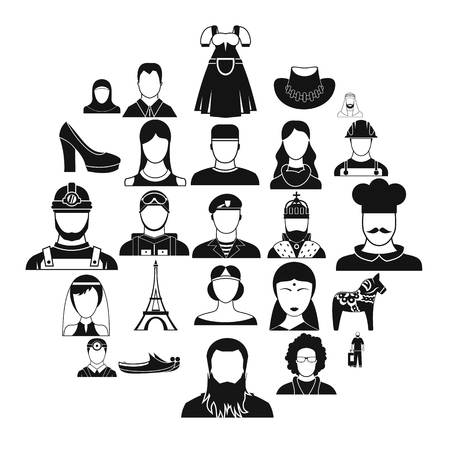 Townsman icons set. Simple set of 25 townsman vector icons for web isolated on white background Banque d'images - 125075708