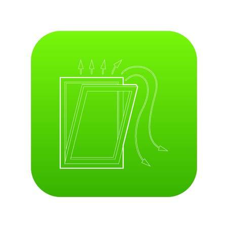 Window ventilation icon green vector Illustration