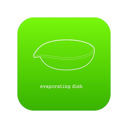 Evaporating dish icon green vector isolated on white background