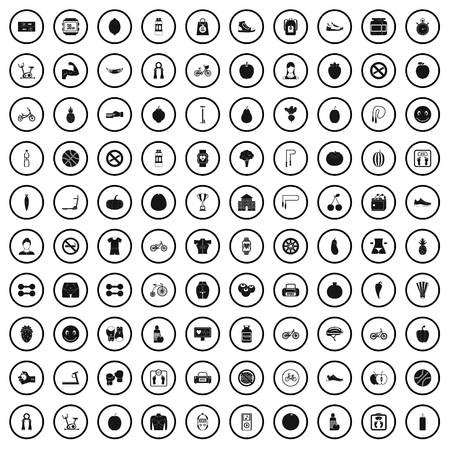 100 fitness icons set in simple style for any design vector illustration