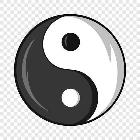 Yin and yang symbol icon, cartoon style Illustration