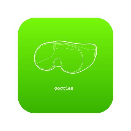Laboratory goggles icon green vector isolated on white background Stock Illustratie