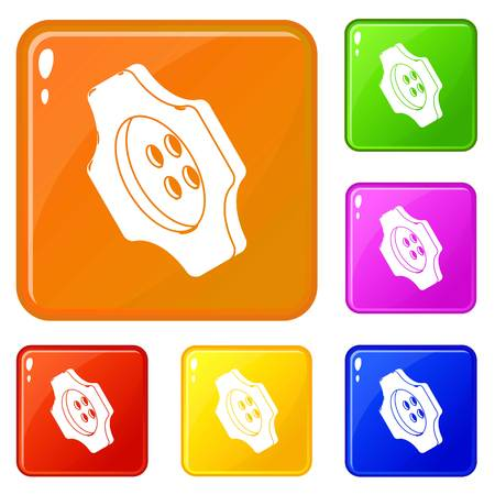 Cogwheel clothes button icons set collection vector 6 color isolated on white background Ilustrace