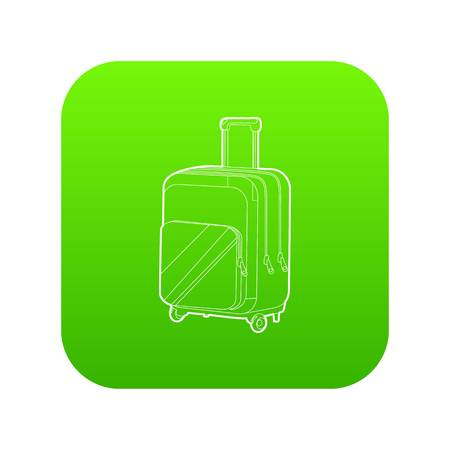Travel suitcase icon green vector isolated on white background Illusztráció