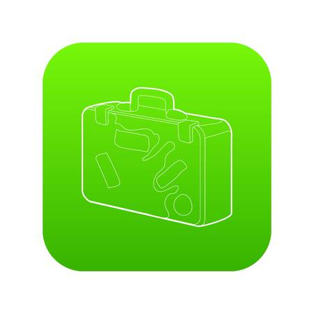 Suitcase icon green vector isolated on white background