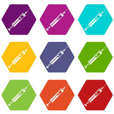 Medicine syringe icons set 9 vector