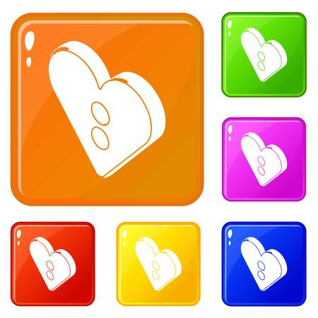 Heart clothes button icons set collection vector 6 color isolated on white background 일러스트