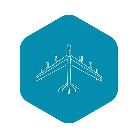 Armed fighter jet icon. Outline illustration of fighter jet vector icon for web
