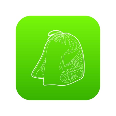 Sport backpack icon green vector isolated on white background Illustration