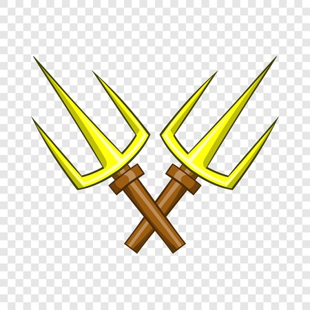 Sai ninja weapon icon, cartoon style