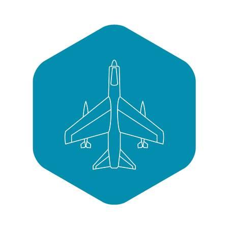 Armed fighter jet icon. Outline illustration of armed fighter jet vector icon for web Ilustrace