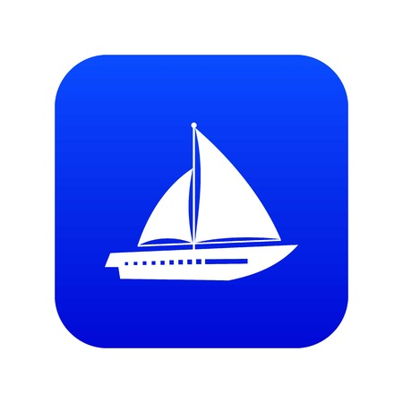 Sailing yacht icon digital blue for any design isolated on white vector illustration