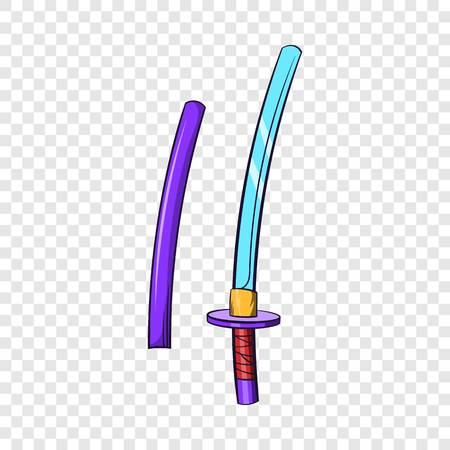 Katana, ancient Japanese sword icon, cartoon style
