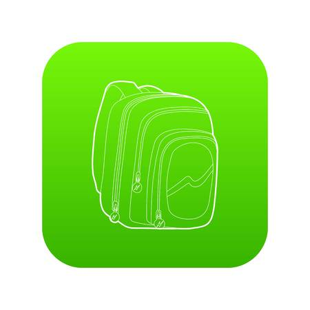 Kids school bag icon green vector isolated on white background Illustration