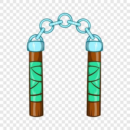 Ninja nunchaku weapon icon, cartoon style 일러스트