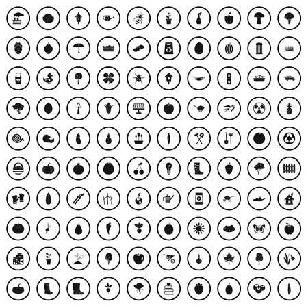 100 garden icons set, simple style