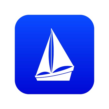 Small yacht icon digital blue for any design isolated on white vector illustration