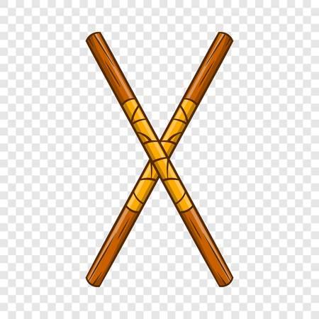 Ninja fighting stick icon, cartoon style