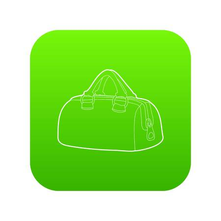 Sports bag icon green vector isolated on white background Illustration