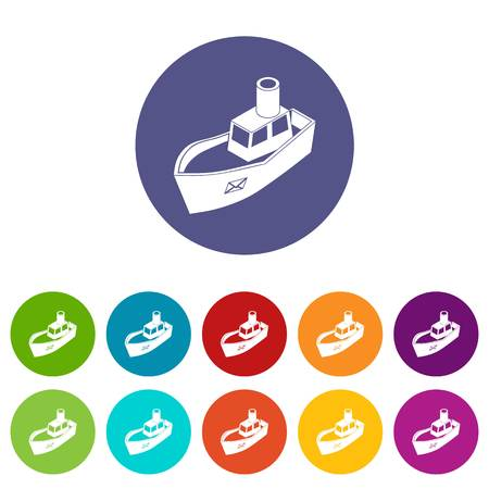 Sea ship delivery icons color set vector for any web design on white background