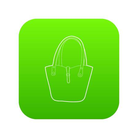 Women bag icon green vector isolated on white background