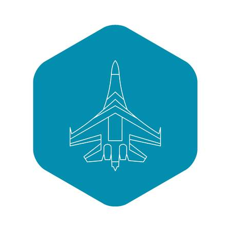 Jet fighter plane icon. Outline illustration of fighter plane vector icon for web Ilustrace