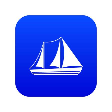 Yacht icon digital blue for any design isolated on white vector illustration