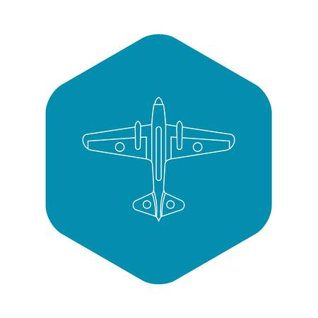 Military aircraft icon. Outline illustration of aircraft vector icon for web