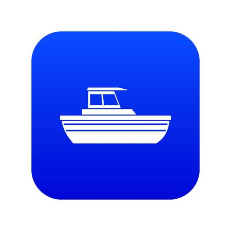 Motor boat icon digital blue for any design isolated on white vector illustration