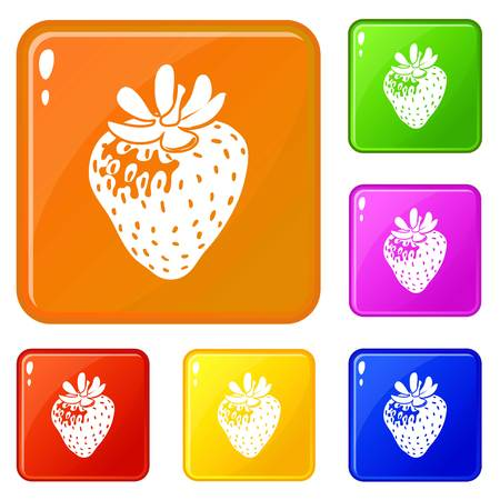 Strawberry icons set collection vector 6 color isolated on white background