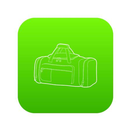 Tennis bag icon green vector isolated on white background